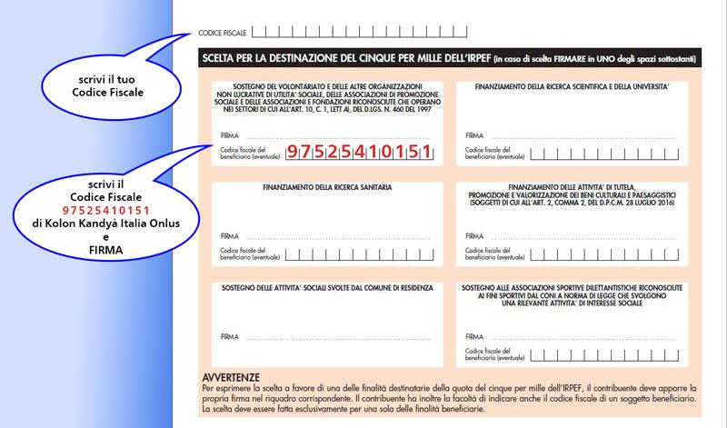 Come compilare il modulo per dare il 5x1000 a Kolon Kandyà Italia Onlus